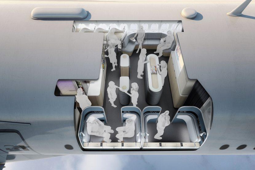 Avionul viitorului, cu paturi în zona cargo și baruri cu masaj la picioare